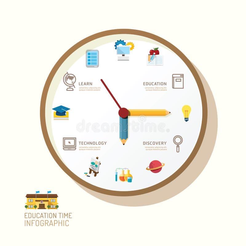 Ρολόι Infographic και επίπεδη ιδέα εικονιδίων επίσης corel σύρετε το διάνυσμα απεικόνισης απεικόνιση αποθεμάτων