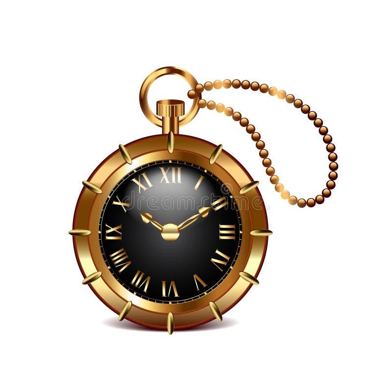Ρολόι Steampunk στο άσπρο διάνυσμα απεικόνιση αποθεμάτων