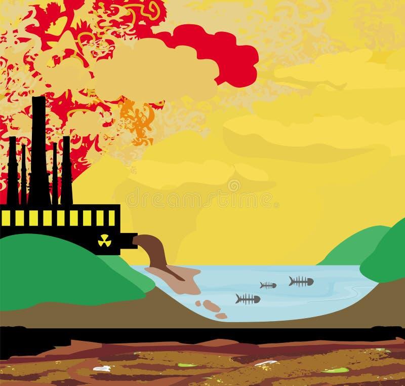 Ρυπογόνες καπνοδόχοι εργοστασίων αέρα ελεύθερη απεικόνιση δικαιώματος