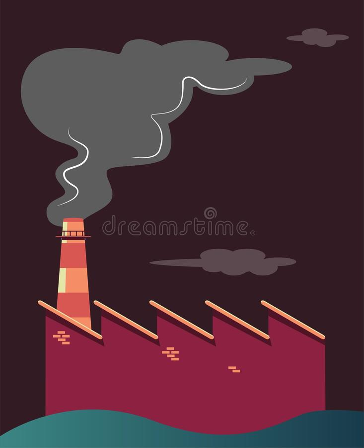 Ρυπογόνος βιομηχανία που κάνει την ατμοσφαιρική ρύπανση ελεύθερη απεικόνιση δικαιώματος