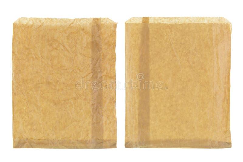 Ρυτιδωμένη λεπτή καφετιά τσάντα εγγράφου παντοπωλείων, κενό μπροστινό και πίσω isola στοκ εικόνες με δικαίωμα ελεύθερης χρήσης
