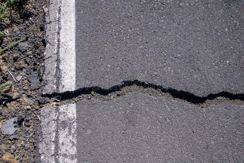 Ρωγμές στην οδική επιφάνεια στο Λα Palma, Κανάριες Νήσοι, Ισπανία στοκ φωτογραφία με δικαίωμα ελεύθερης χρήσης