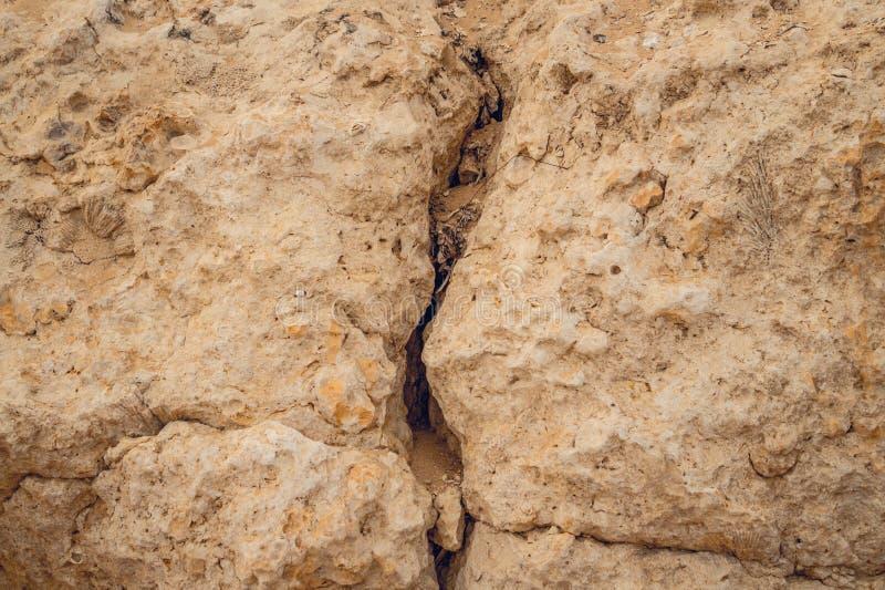 Ρωγμή σε έναν απότομο βράχο πετρών Σχισμή καρστ στοκ εικόνες με δικαίωμα ελεύθερης χρήσης