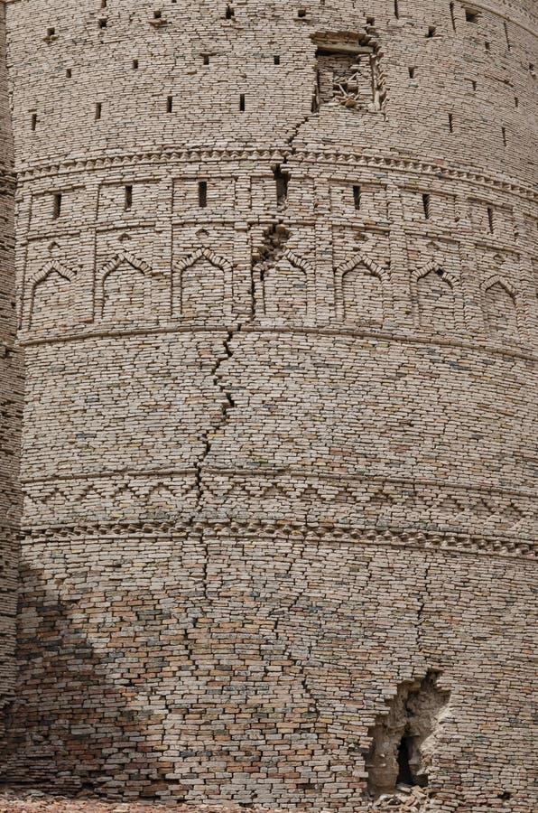 Ρωγμή στον προμαχώνα του οχυρού Bahawalpur Πακιστάν Derawar στοκ εικόνες
