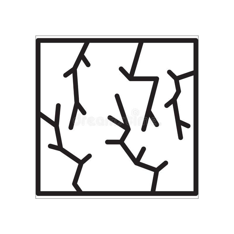 Ρωγμών σημάδι και σύμβολο εικονιδίων διανυσματικό που απομονώνονται στο άσπρο υπόβαθρο απεικόνιση αποθεμάτων