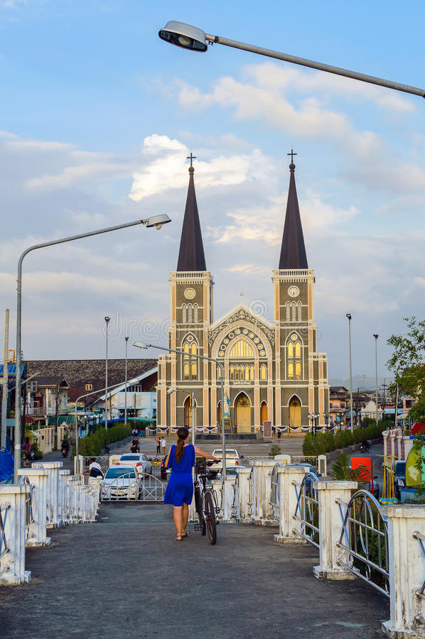 Ρωμαιοκαθολική εκκλησία στην πόλη Chang, Chanthaburi, Ταϊλάνδη στοκ φωτογραφία με δικαίωμα ελεύθερης χρήσης