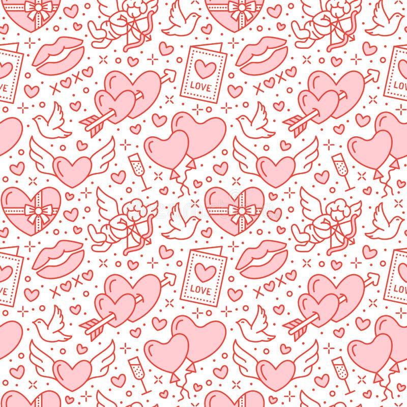 ρωμανικός άνευ ραφής προτύπ& Αγάπη, εικονίδια γαμήλιων επίπεδα γραμμών - καρδιές, σοκολάτα, φιλί, Cupid, περιστέρια, κάρτα ημέρας απεικόνιση αποθεμάτων