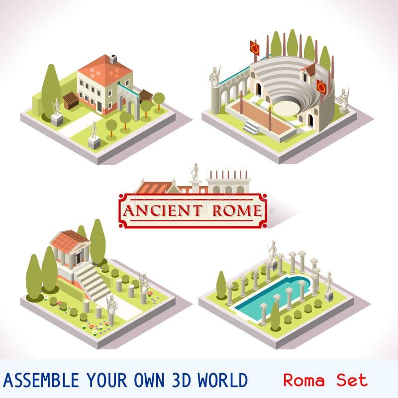 Ρωμαϊκά 01 κεραμίδια Isometric απεικόνιση αποθεμάτων