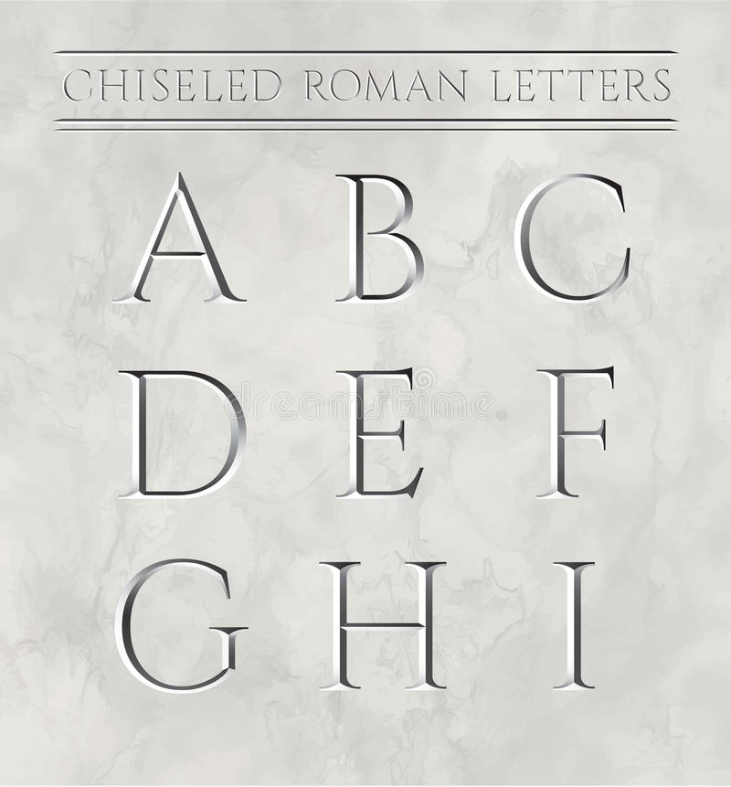 Ρωμαϊκές επιστολές που σμιλεύονται στη μαρμάρινη πέτρα απεικόνιση αποθεμάτων