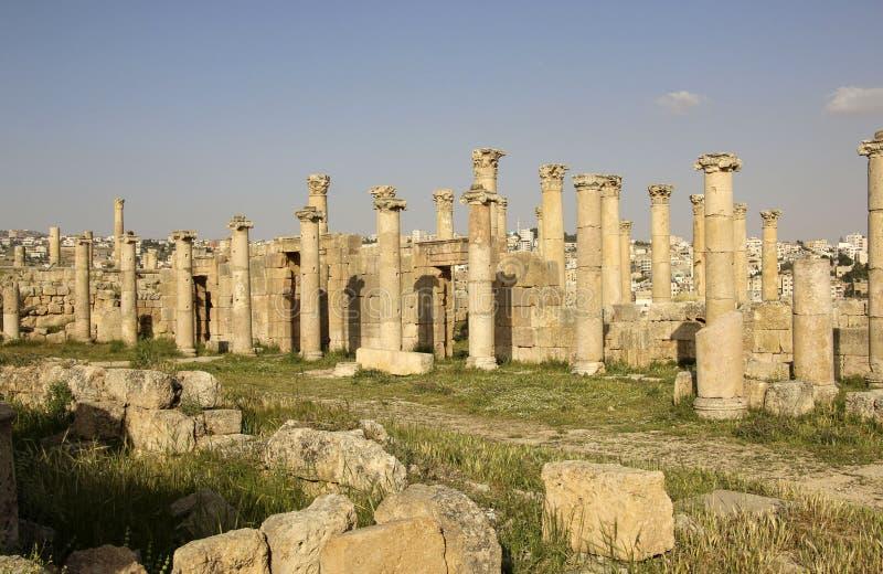 Ρωμαϊκές καταστροφές στην αρχαία ρωμαϊκή πόλη Gerasa της αρχαιότητας, σύγχρονο Jerash, Ιορδανία στοκ εικόνες