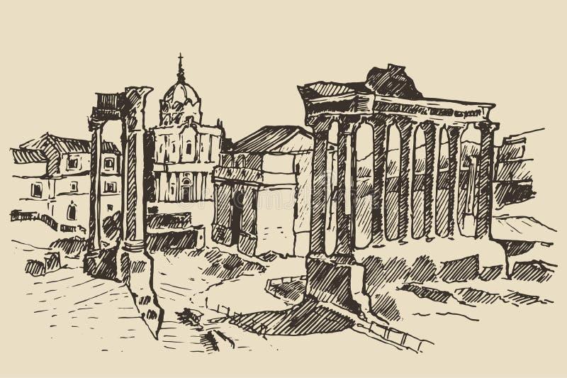 Ρωμαϊκές καταστροφές φόρουμ στο ορόσημο Ιταλία της Ρώμης ελεύθερη απεικόνιση δικαιώματος