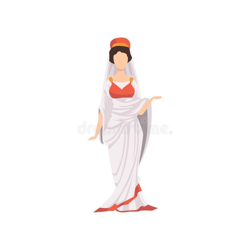 Ρωμαϊκή γυναίκα στα παραδοσιακά ενδύματα, πολίτης της αρχαίας διανυσματικής απεικόνισης της Ρώμης σε ένα άσπρο υπόβαθρο ελεύθερη απεικόνιση δικαιώματος