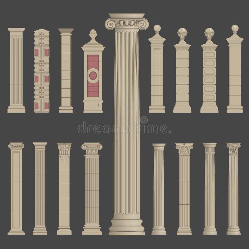 Ρωμαϊκή ελληνική αρχιτεκτονική στηλών στυλοβατών διανυσματική απεικόνιση