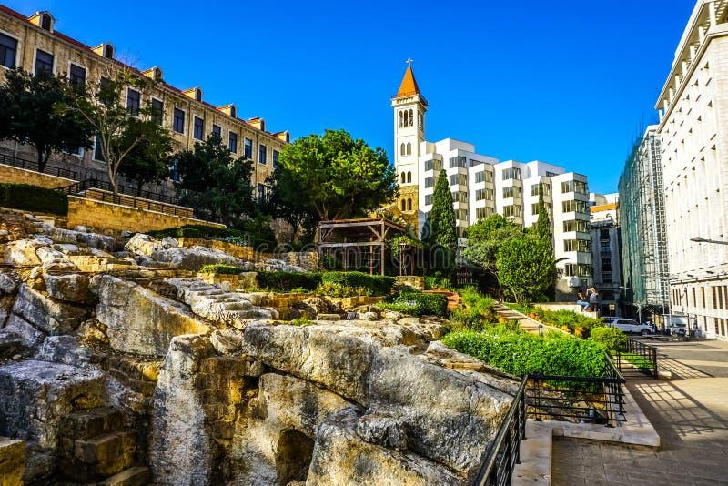 Ρωμαϊκή περιοχή 01 λουτρών της Βηρυττού στοκ φωτογραφίες