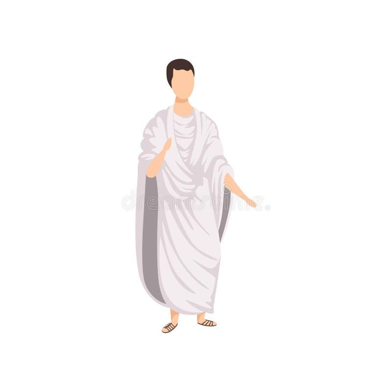 Ρωμαϊκός πολίτης, άτομο στα παραδοσιακά ενδύματα της αρχαίας διανυσματικής απεικόνισης της Ρώμης σε ένα άσπρο υπόβαθρο ελεύθερη απεικόνιση δικαιώματος