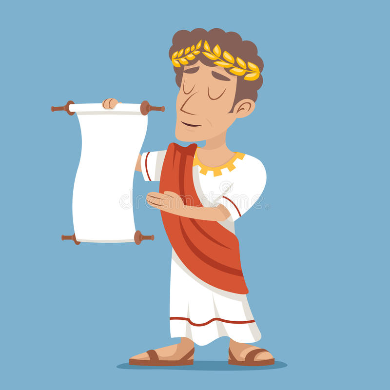 Ρωμαϊκό ελληνικό αναδρομικό εκλεκτής ποιότητας εικονίδιο χαρακτήρα κινουμένων σχεδίων επιχειρηματιών Διακήρυξης κυλίνδρων στο μον απεικόνιση αποθεμάτων
