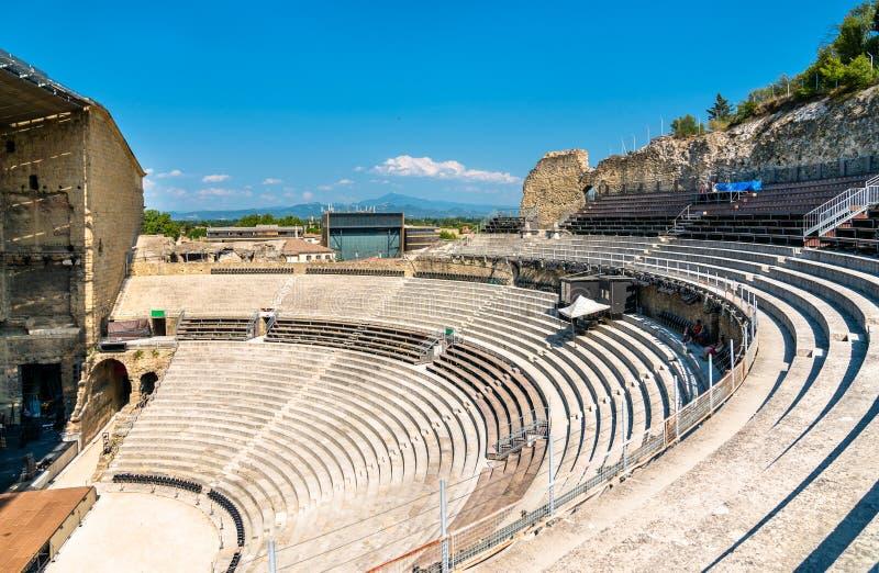 Ρωμαϊκό θέατρο του πορτοκαλιού στην Προβηγκία, Γαλλία στοκ εικόνες