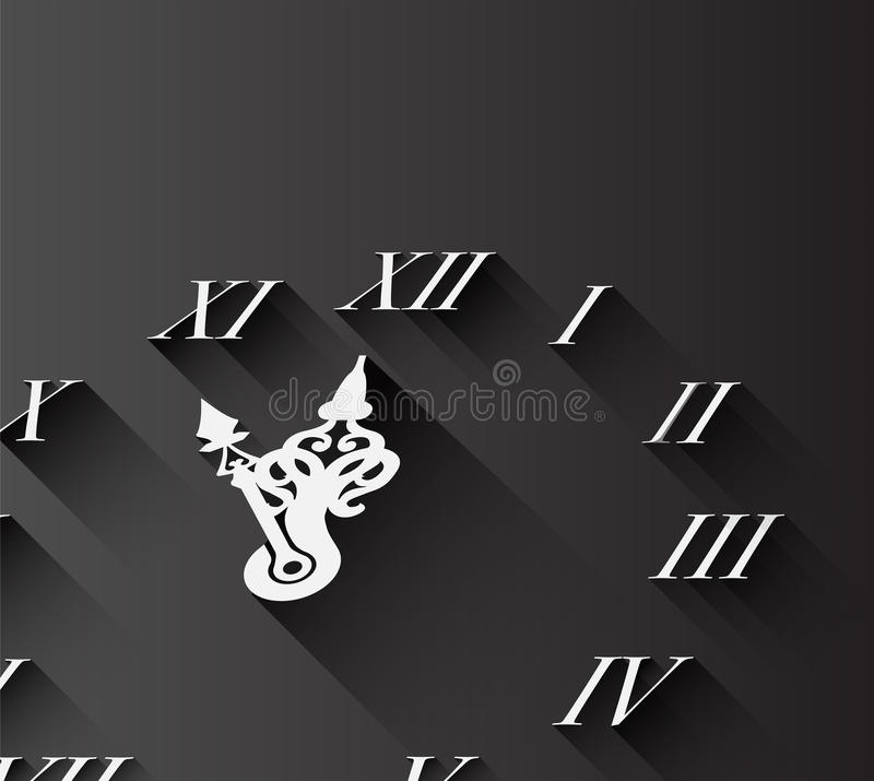 Ρωμαϊκό ρολόι αριθμού στο Μαύρο απεικόνιση αποθεμάτων
