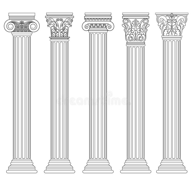 Ρωμαϊκό σύνολο στηλών, ελληνικός στυλοβάτης, αρχαία αρχιτεκτονική διανυσματική απεικόνιση