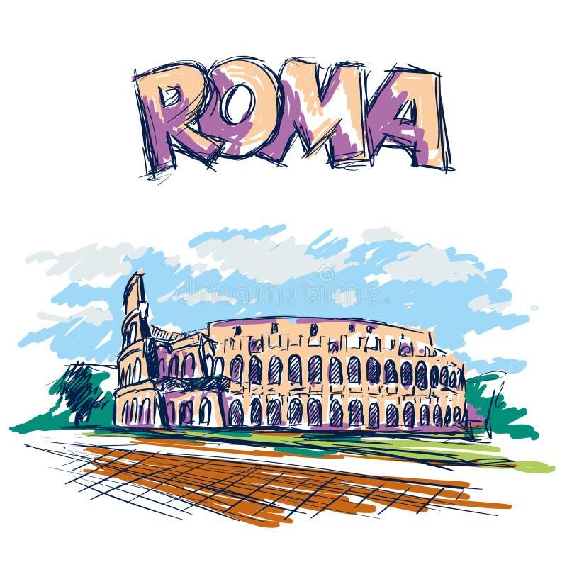 Ρωμαϊκό Coliseum Θέα στη Ρώμη, Ιταλία Συρμένο χέρι διανυσματικό σκίτσο χρώματος με το κείμενο τίτλων της Ρώμης απεικόνιση αποθεμάτων