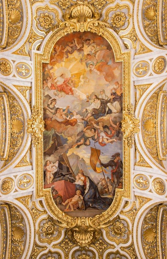 ΡΩΜΗ, ΙΤΑΛΙΑ: Αποθέωση της νωπογραφίας 1756 υπόγειων θαλάμων του Σαιντ Λούις στο dei Francesi εκκλησιών Chiesa Di SAN Luigi στοκ φωτογραφίες με δικαίωμα ελεύθερης χρήσης