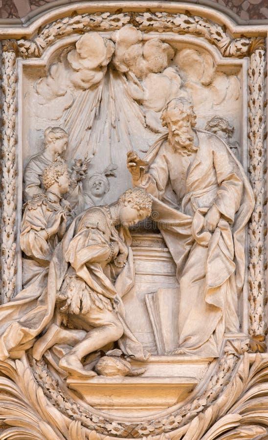 ΡΩΜΗ, ΙΤΑΛΙΑ - 10 ΜΑΡΤΊΟΥ 2016: Η ανακούφιση του βαπτίσματος του ευνούχου από τη ζωή του ST Philip ο απόστολος στοκ φωτογραφία