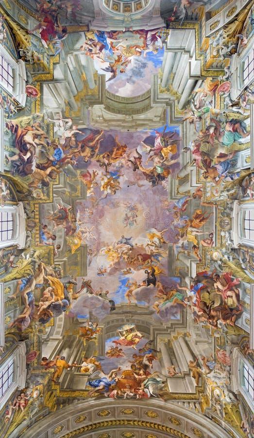 ΡΩΜΗ, ΙΤΑΛΙΑ: Μπαρόκ νωπογραφία υπόγειων θαλάμων η αποθέωση του ST Ignatius από το jesuit frater Andrea Pozzo στην εκκλησία Chies στοκ φωτογραφία με δικαίωμα ελεύθερης χρήσης