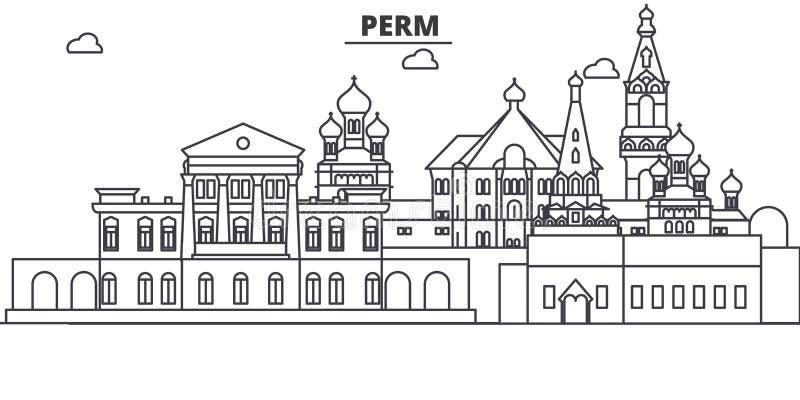 Ρωσία, απεικόνιση οριζόντων γραμμών αρχιτεκτονικής Perm Γραμμική διανυσματική εικονική παράσταση πόλης με τα διάσημα ορόσημα, θέε απεικόνιση αποθεμάτων