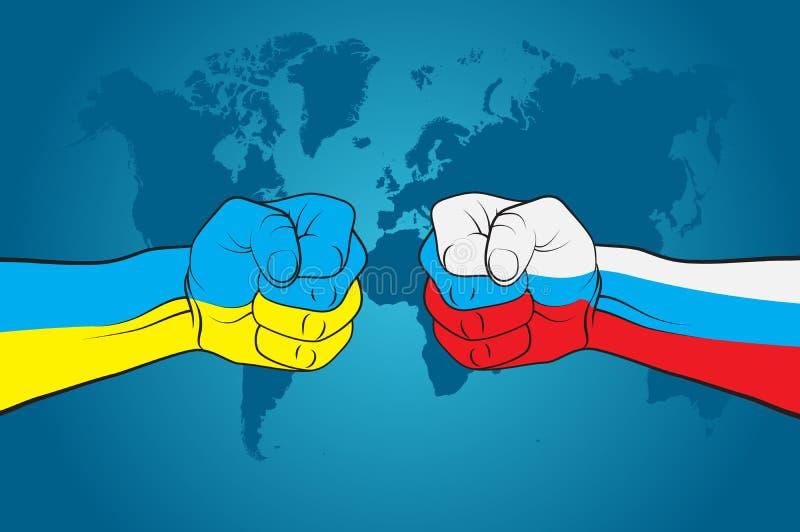 Ρωσία εναντίον της Ουκρανίας διανυσματική απεικόνιση