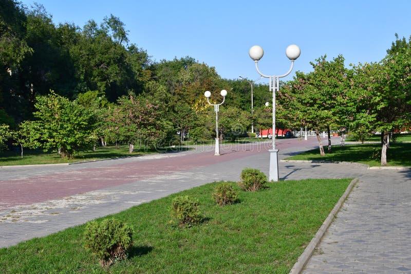 Ρωσία Η πόλη Nevinnomyssk, Stavropol Krai Λεωφόρος της ειρήνης το φθινόπωρο στοκ εικόνα