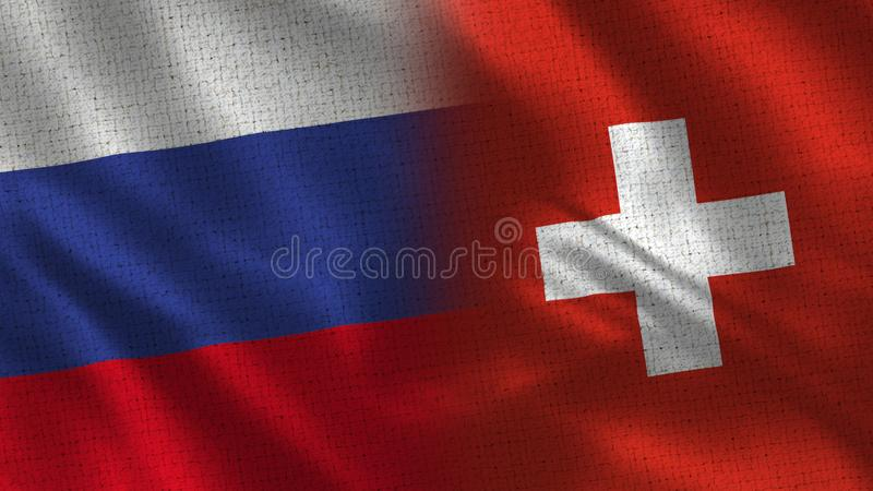 Ρωσία και Ελβετία - σημαία δύο μαζί - σύσταση υφάσματος στοκ φωτογραφία με δικαίωμα ελεύθερης χρήσης