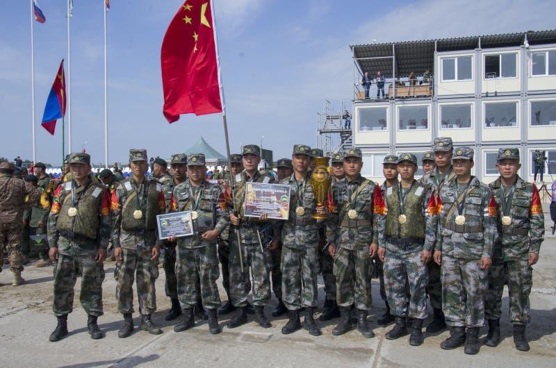 Ρωσία Tyumen, 10 Αυγούστου 2019: Διεθνή Στρατιωτικά Παιχνίδια Νικητές της ομάδας Final`Engineering formula' της Κίνας 3η θέση στοκ φωτογραφία με δικαίωμα ελεύθερης χρήσης