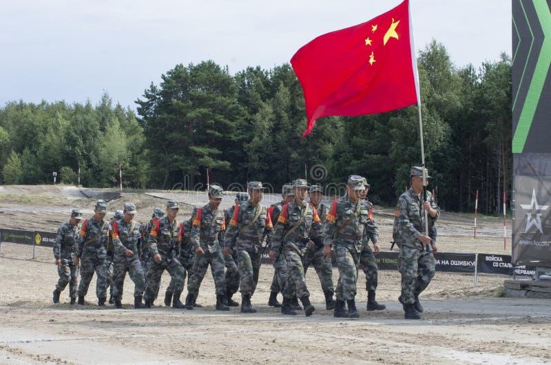 Ρωσία Tyumen, 10 Αυγούστου 2019: Διεθνή Στρατιωτικά Παιχνίδια Νικητές της ομάδας Final`Engineering formula' της Κίνας 3η θέση στοκ εικόνα με δικαίωμα ελεύθερης χρήσης