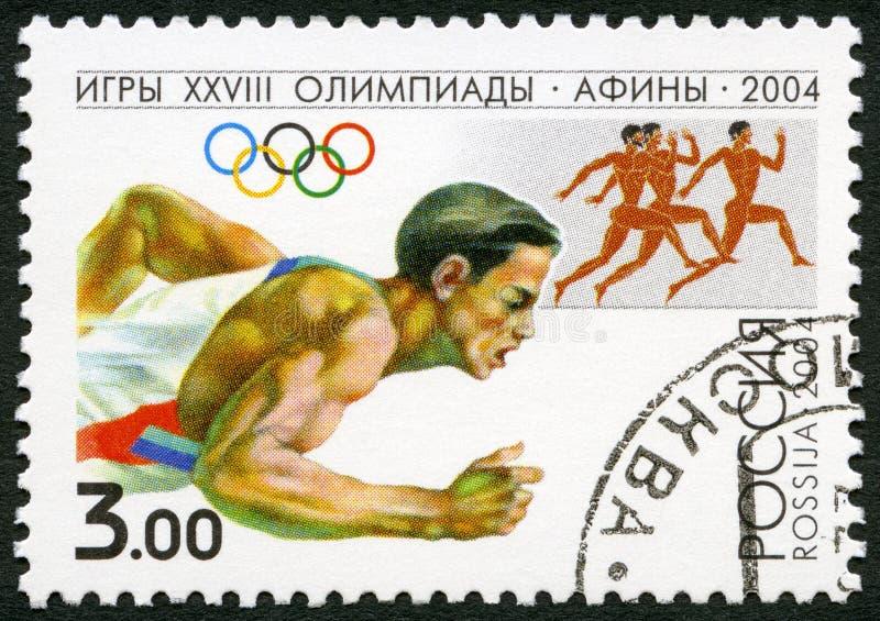 ΡΩΣΙΑ - 2004: παρουσιάζει δρομέα, σειρά 2004 Ολυμπιακοί Αγώνες θερινών αγώνων, Αθήνα ελεύθερη απεικόνιση δικαιώματος