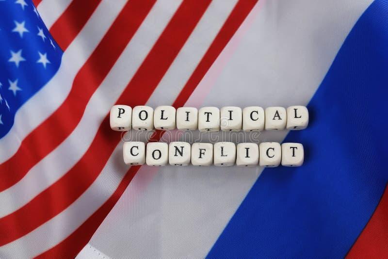Ρωσικά και ΗΠΑ σημαιοστολίστε τις κυρώσεις στοκ εικόνα
