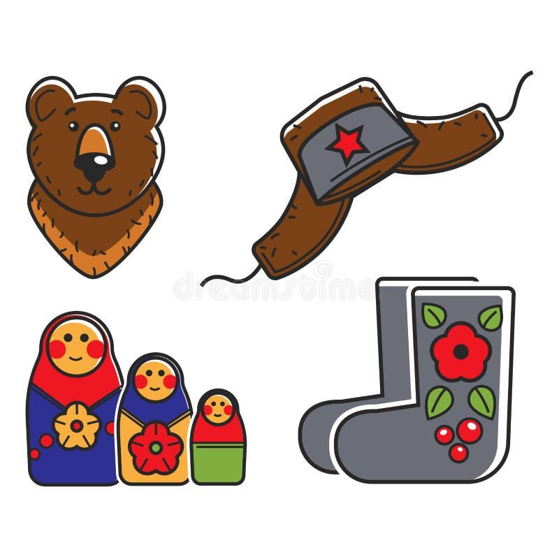 Ρωσικές παραδοσιακές εθνικές απομονωμένες σύμβολα απεικονίσεις κινούμενων σχεδίων καθορισμένες διανυσματική απεικόνιση