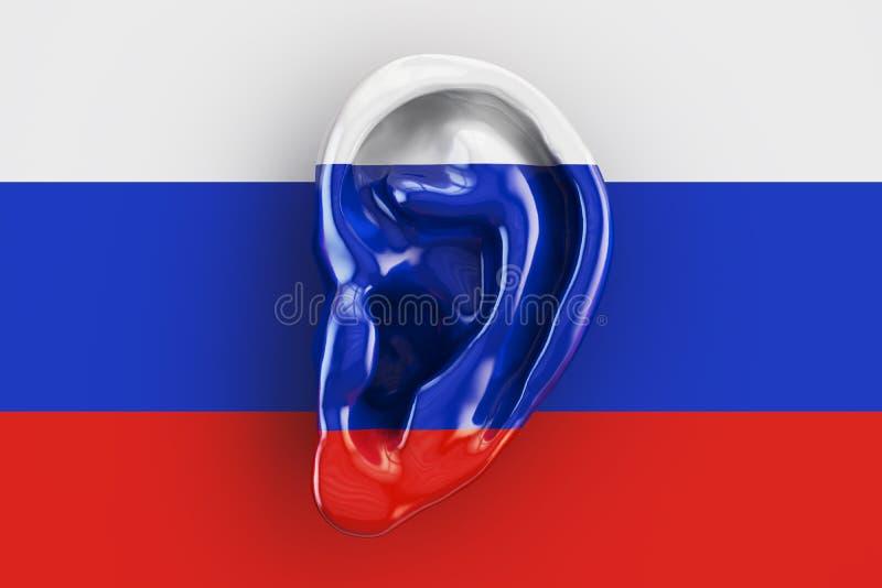 Ρωσική έννοια νοημοσύνης, αυτί στη σημαία της Ρωσίας τρισδιάστατο rend απεικόνιση αποθεμάτων