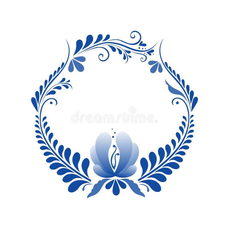 Ρωσική διακόσμηση στο ύφος gzhel στοκ φωτογραφία με δικαίωμα ελεύθερης χρήσης