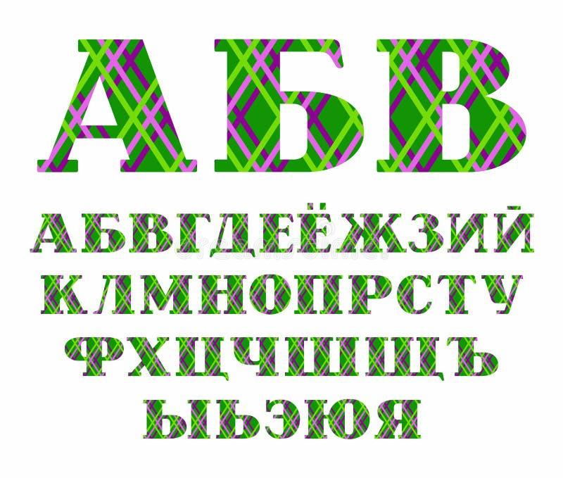 Ρωσική πηγή, γραμμές χρώματος στο πράσινο υπόβαθρο, διάνυσμα απεικόνιση αποθεμάτων