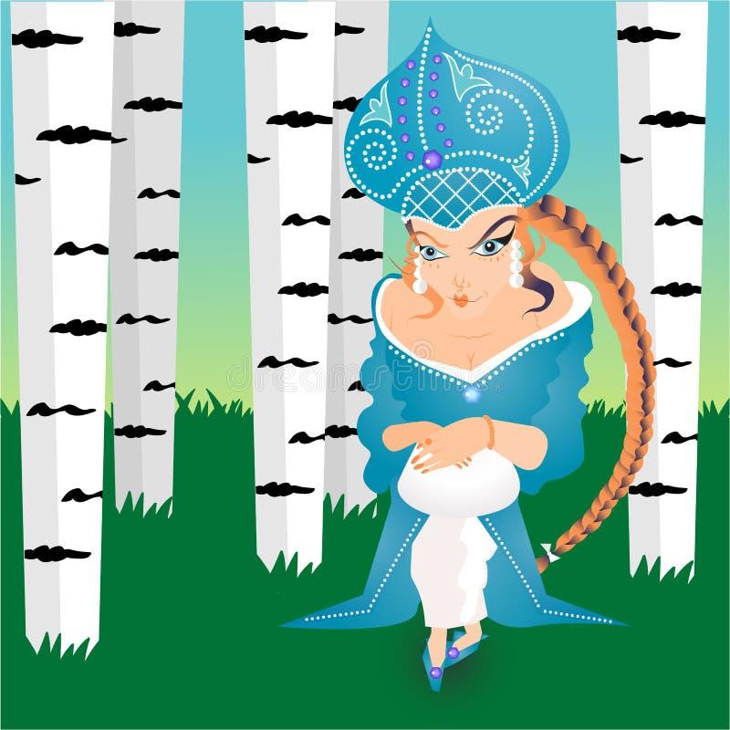 Ρωσική πριγκήπισσα παραμυθιού στο θερινό δάσος απεικόνιση αποθεμάτων