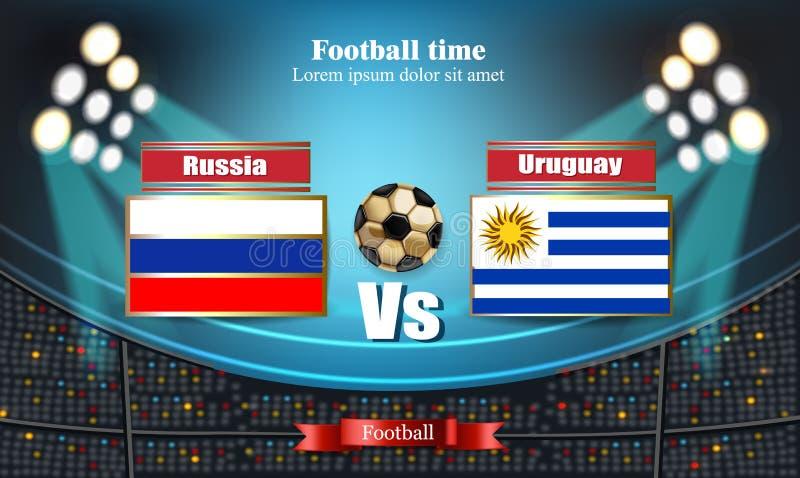 Ρωσική σημαία πινάκων ποδοσφαίρου ΕΝΑΝΤΙΟΝ της Ουρουγουάης 2018 αντιστοιχία προτύπων παγκόσμιου πρωταθλήματος εθνικές σημαίες ποδ διανυσματική απεικόνιση