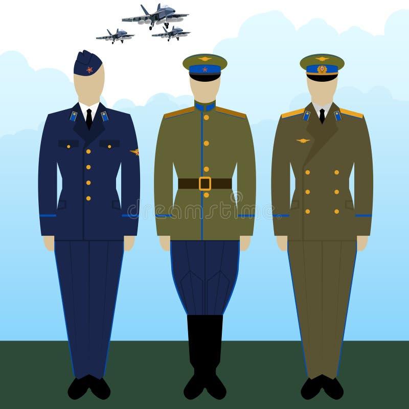 Ρωσικοί στρατιωτικοί πιλότοι στολών ελεύθερη απεικόνιση δικαιώματος