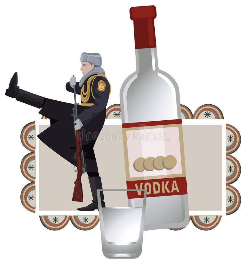 Ρωσικοί στρατιώτης και βότκα διανυσματική απεικόνιση