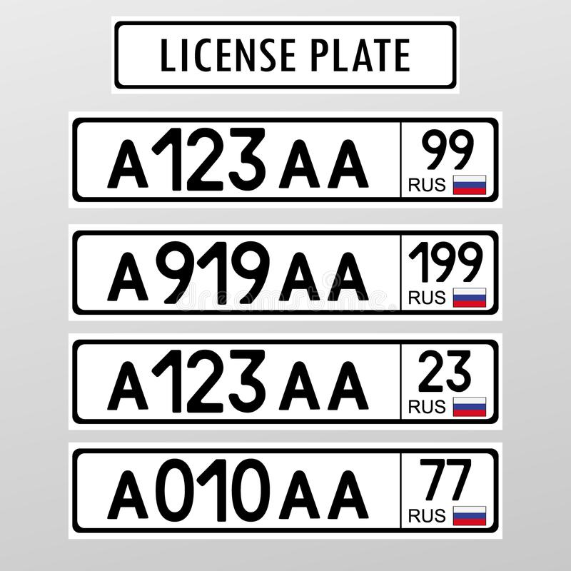 Ρωσικός αριθμός πινακίδας αυτοκινήτου αδειών Επίπεδο σχέδιο ύφους απεικόνιση αποθεμάτων