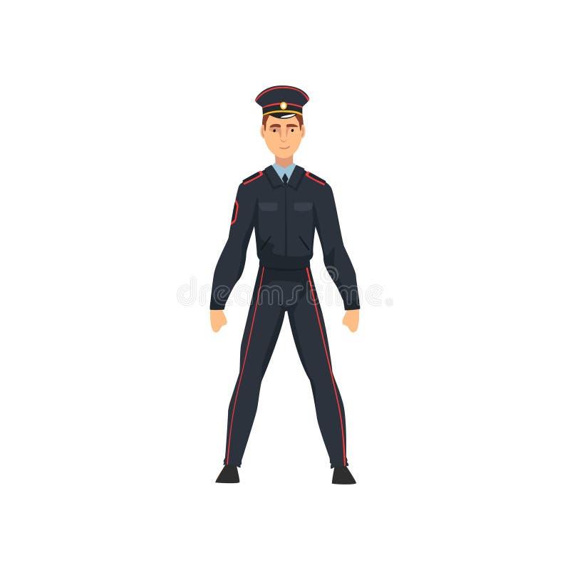 Ρωσικός αστυνομικός στην ομοιόμορφη, επαγγελματική διανυσματική απεικόνιση χαρακτήρα αστυνομικών ελεύθερη απεικόνιση δικαιώματος
