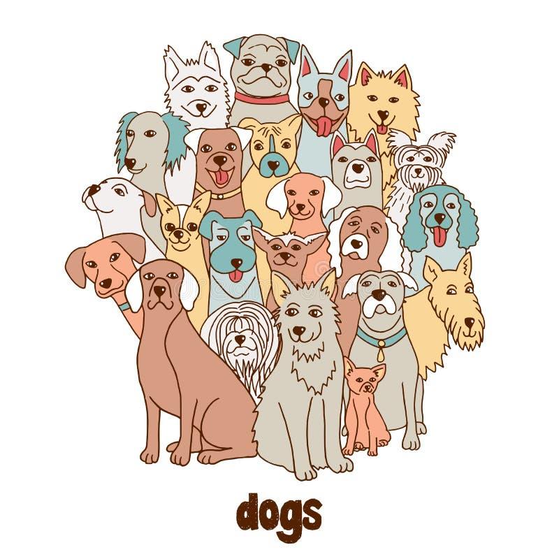 ρωσικός κόσμος αγριοτήτων φύσης ομάδας σκυλιών απεικόνιση αποθεμάτων