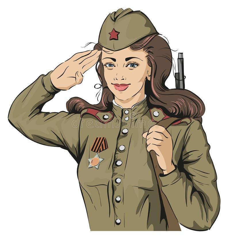 Ρωσικός στρατιώτης κοριτσιών Θηλυκός στρατιώτης στις αναδρομικές στρατιωτικές στολές 9 Μαΐου ημέρα νίκης απεικόνιση αποθεμάτων