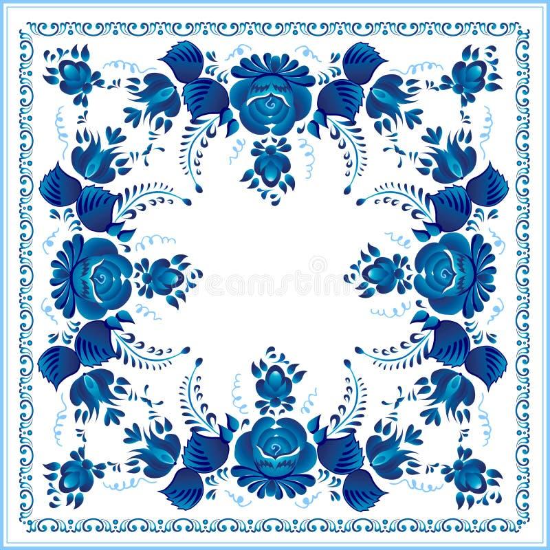 Ρωσικό εθνικό μπλε floral πρότυπο διανυσματική απεικόνιση