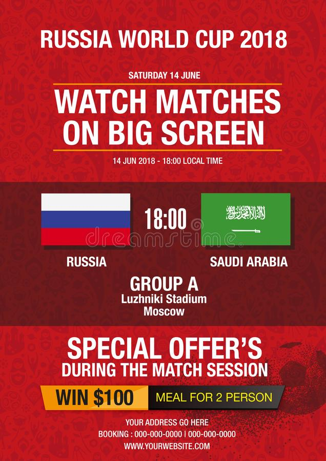 Ρωσικό κόκκινο υπόβαθρο, κόσμος του σχεδίου της Ρωσίας με τα σύγχρονα και παραδοσιακά στοιχεία, τάση Παγκόσμιου Κυπέλλου 2018 της ελεύθερη απεικόνιση δικαιώματος