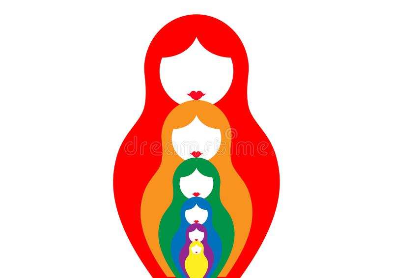 Ρωσικό να τοποθετηθεί matrioshka κουκλών, καθορισμένο ζωηρόχρωμο σύμβολο εικονιδίων της Ρωσίας, ελεύθερη απεικόνιση δικαιώματος